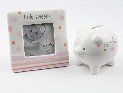 My First Piggy Bank and Little Sweetie Photo Frame Gift Set for Baby Girl – By Enesco beginnings by beginnings