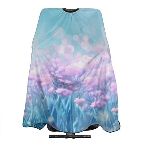 (Hueale Wild Pink Lilac Flowers On Meadow and Butterflies Personalized Custom Professional Hair Salon Apron, Polyester Hair Shawl 55