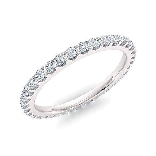 Diamondere Natural and Certified Diamond Wedding Ring in 14K White Gold | 0.79 Carat Full Eternity Stackable Band for Women, US Size ()