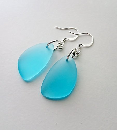aqua-sea-glass-earrings-aqua-earrings-christmas-gift-for-her-dangle-earrings-sterling-silver-earring
