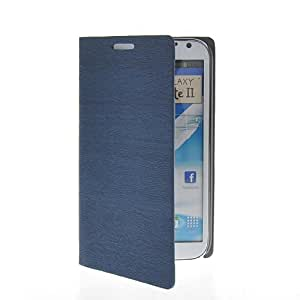 KCASE Thin Flip Leather Wallet Card Holder Slim Pouch Stand Case Cover For Samsung Galaxy Note 2 ii N7100 Sapphire