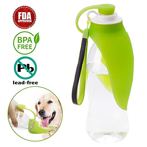 Portable Pet Water Bottle, Aklion Dog Travel Bottle 20 Oz with Food-Grade Silicone Flip-Up Leaf, Expandable & Lightweight Pet Water Dispenser for Walking Outdoors