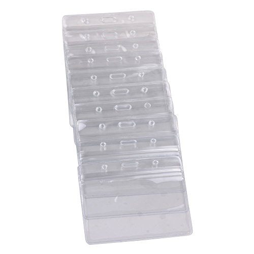 KLOUD City 10 pcs Clear PVC Business ID Badge Card Holder Case with Slot & Chain Holes (10 Horizontal Style) ()
