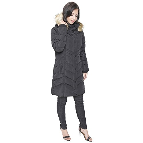 Zip Winter Padded Spindle Quilted Fur Coat Chevron Parka Black Pockets Womens Jacket Long wqA4vfa6