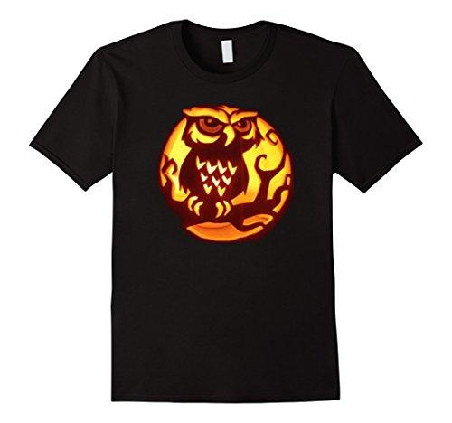 Mens Owl Pumpkin Carving Halloween T Shirt Gift Large (Pumpkin Carving Halloween Party)