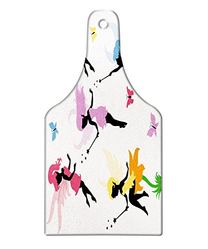 Ambesonne Fantasy Cutting Board, Cute Pixie Spirit Elf Fairies Flying with Butterflies Girls Princess Flowers Design, Decorative Tempered Glass Cutting and Serving Board, Wine Bottle Shape, - Pixie Table Cutting