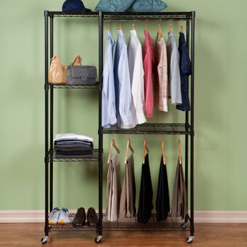 Tiered Garment Storage Rack With Heavy Duty Zippered Cover Provides Extra Closet Space Saver Great for Suits, Shoes, Sweater, Hangers