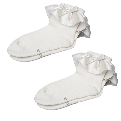 Maxu Set of 2 Girl Cotton Satin Frilly Lace Socks for Little Kid,M, White Cream Ruffle