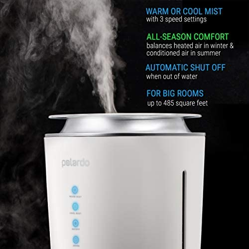Polardo Ultrasonic Cool & Warm Mist Humidifier Whisper Quiet Humidifier for Bedroom, Large Room, Babies, Home (White, 4 Liter)