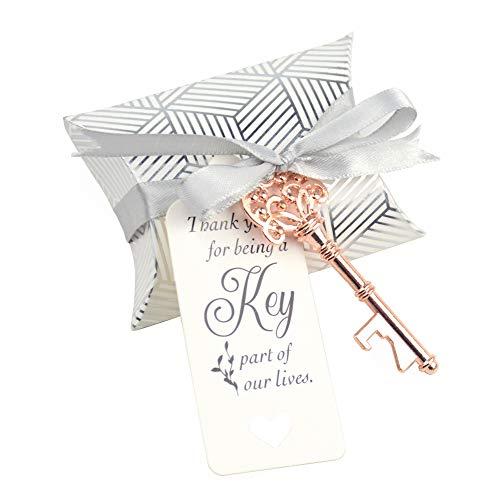 Aokbean 50pcs Wedding Favor Souvenir Gift Set Pillow Candy Box Vintage Skeleton Key Bottle Openers Escort Gift Card Thank You Tag French Ribbon (Rose -