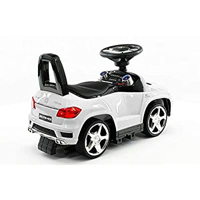 Moderno Kids Mercedes GL63 AMG Baby Toddler Ride-On Push Car Stroller Convertible to Foot to Floor Toy + Padded PU Leather Seat + Integrated MP3 Music Player + Working LED Lights (White): Toys & Games
