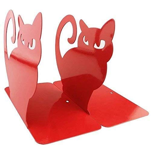 Xqing Metal Persian cat Bookends 1 Pair Thickening Iron Decorative Book Holders for Bookshelf Office School Library-Red