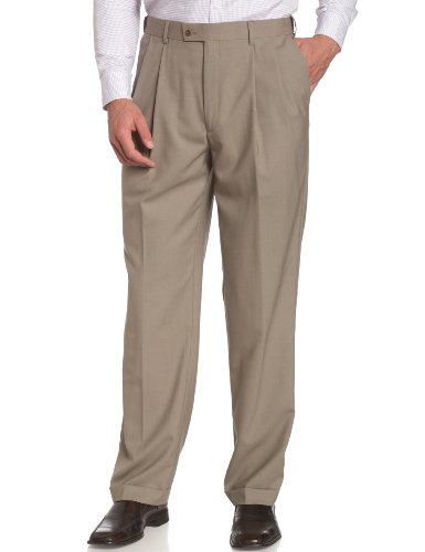 Louis Raphael LUXE Men's 100% Wool Pleated Dress Pant with Hidden Extension Waist Band,Khaki,38x29