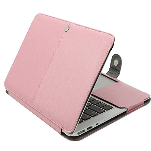 MOSISO MacBook Air 13 inch Case, Premium PU Leather Book Folio Protective Stand Cover Sleeve Compatible with MacBook Air 13 inch A1466 / A1369 (Older Version Release 2010-2017), Pink