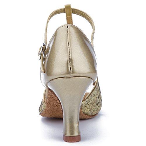 Roymall Womens Gold Satin Latin Dance Shoes Ballroom Salsa Tango Performance Shoes,Model WZJCL-7,7.5 B(M) US