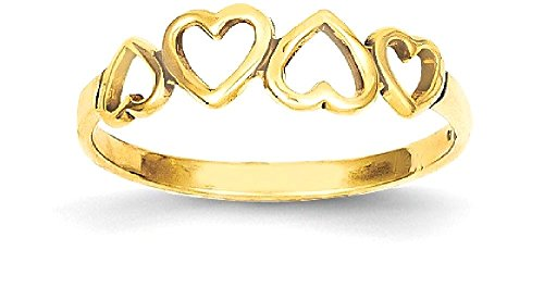 b1c098060 ICE CARATS 14k Yellow Gold Heart Band Ring Size 6.00 S/love Fine Jewelry  Gift