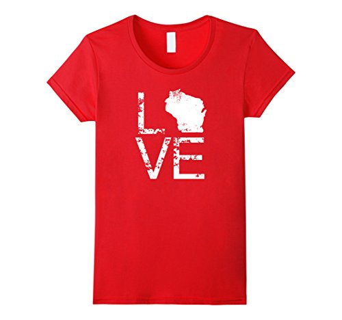 Womens Wisconsin Love Shirt WI State Home Pride Map Distressed Tee Medium Red