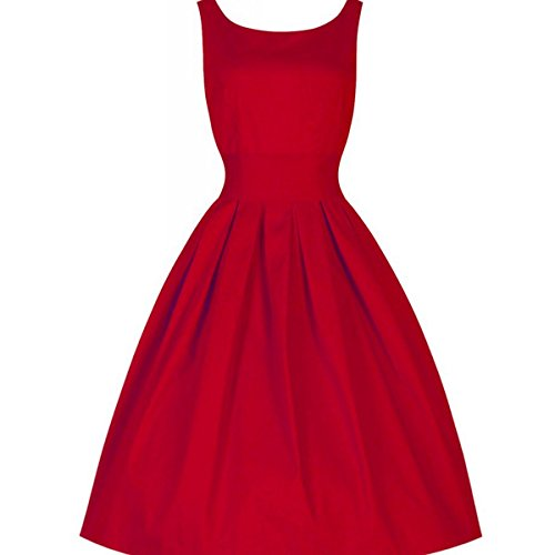 SUNYIK Sleeveless Dress for Women,Solid Swing Picnic Party Rockabilly Vintage 1950s Cocktail Dresses Medium Red