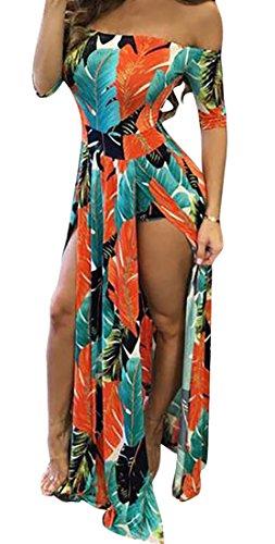 Printed Cromoncent Stylish Dress Maxi Off Orange Slit Shoulder Bodycon Women's r7qXwr