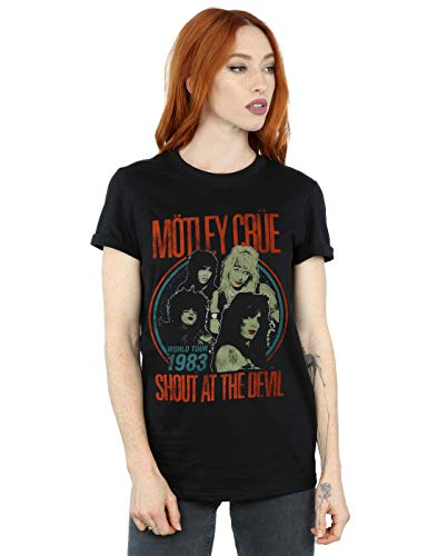 Motley Crue Women's Vintage '83 Shout at The Devil Boyfriend Fit T-Shirt Black X-Large Devil Womens Fit T-shirt