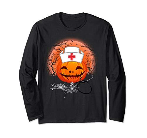 Halloween Costume Funny Pumpkin Nurse Sleeve For Nurse Tee for $<!--$32.99-->