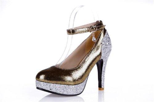 Carol Schoenen Mode Pailletten Vrouwen Platform Hoge Hak Mary Jane Pumps Schoenen Goud