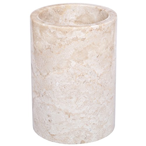 Creative Home 74075 Natural Marble Multi-Functional Tool Crock Utensil Holder, 5 Diam. x 7 H, Champagne(Beige)
