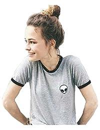 Imixshopcs Women's Girls' Stripe Alien Print Short Sleeve t Shirt Crop Top (S, Grey)
