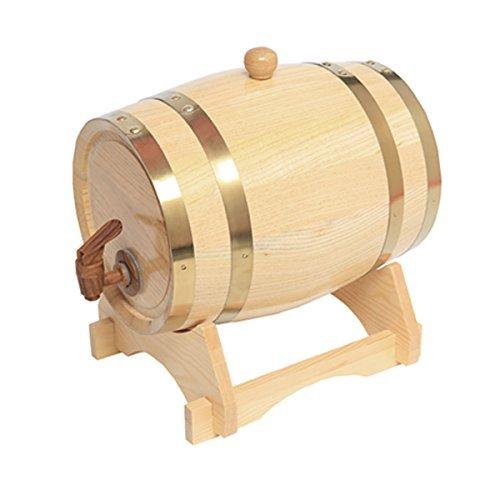 - 5L Whiskey Barrel Dispenser Oak Aging Barrels Home Whiskey Barrel Decanter for Wine, Spirits, Beer, and Liquor(White)