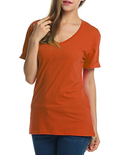 Meaneor Women Solid Comfy Loose Fit Roll Over Short Sleeve V Neck Lightweight Top Tee Orange XL?]()
