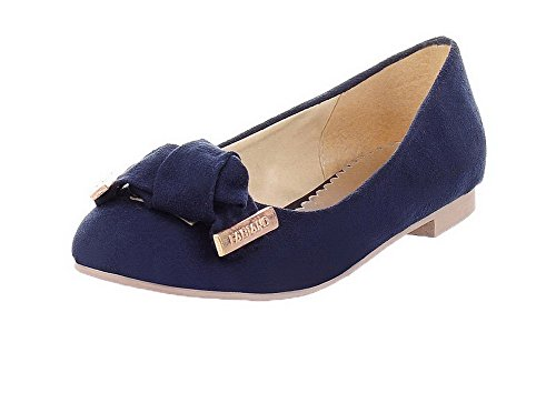 Odomolor Women's Low-Heels Pu Solid Pull-On Round-Toe Court Shoes Blue KSkik4AWM