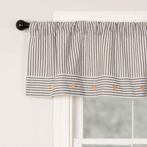 Piper Classics Farmhouse Ticking Stripe Gray Valance 16