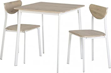 Riley Small Kitchen Dining Table & Chair Set in Light Oak Effect  Veneer/White