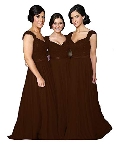 Bridesmaid Brown Dress - Fanciest Women' Cap Sleeve Lace Bridesmaid Dresses Long Wedding Party Gowns Brown US2