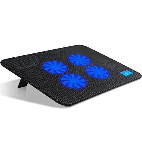 AICHESON Laptop Cooler, 4 Quiet Laptop Cooling Fan 1 USB Ports Lap Desk Air Cooling Pad with LED Light Notebook Cooler Stand for Hp Dell Lenovo Sony Alienware Asus Acer Toshaba 10