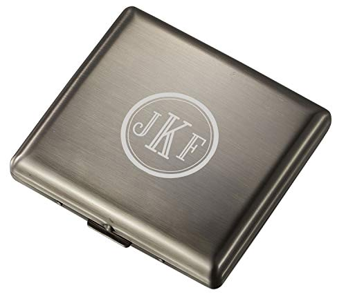 Personalized Visol Antique Silver Double Sided Cigarette Case with Free Laser Engraving (Roman Monogram)