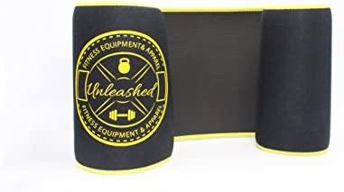 UNLEASHED Premium Waist Trimmer For Weight Loss & Fat Burning | Comfortable Neoprene Body Shaper For Men & Women | Wide & Ergonomic Slimming Corset | Improved Sweat Production & 2 Free E-Books | Black 2