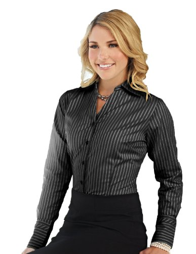 Buy Cool Shirts Womens Lilac Bloom Black Taylor Stripe Open Neck Dress Shirt SM