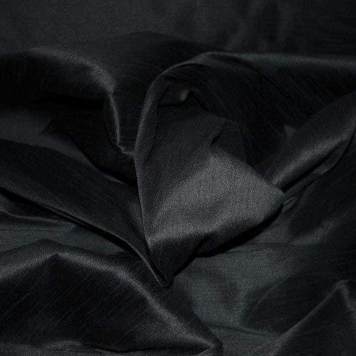 FAUX SILK DUPIONI FABRIC POLY DUPION BLACK (BY THE YARD)