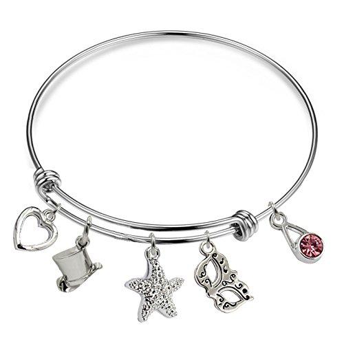/Love/Memorial Message Charm Bracelets,Expandable Wire Bangle Bracelets. (Heart&hat&Starfish&maskπnkstone Charms Bracelet) ()