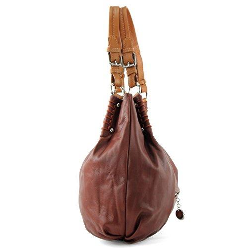 ital. Handtasche Schultertasche Tragetasche Echt Nappaleder Damen Tasche T13 Braun/Camel
