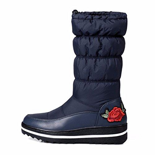 barrica la mujer están En de cálidas engrosados algodón y de blue invierno bordado botas botas la nieve 1AxIq