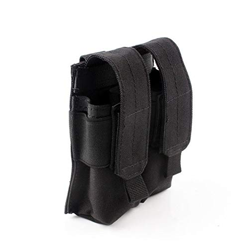 FIRECLUB Tactical Double Pistol Magazine Pouch Mag Holder Military Airsoft Mag Holder Bag Hunting Accessories Flashlight Bag (Black)