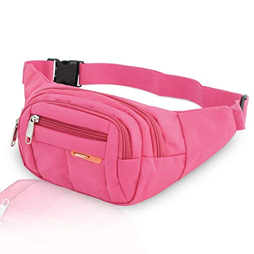 MEINAIER Sports Waist Packs Fanny Bag Multiple Functions Hip Bum Chest Belly Back Bags with Adjustable Belt Strap for Men & Women Fit for Outdoor Events Like Hiking, Cycling & Running(Plum Red)