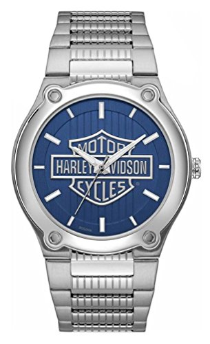 (Harley-Davidson Men's Blue Patterned Bar & Shield Stainless Steel Watch 76A159)