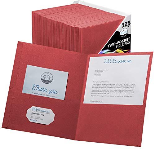FILE-EZ Two-Pocket Folders, Red, 125-Pack, Textured Paper, Letter Size (EZ-32458)