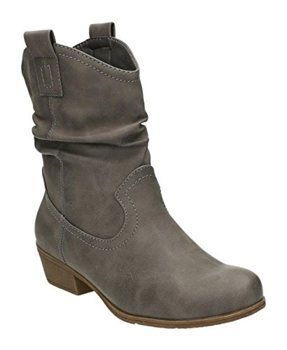 King Of Shoes Damen Stiefeletten Cowboy Western Stiefel Boots Schlupfstiefel Schuhe 36-2