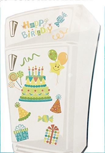 Happy Birthday Festive Refrigerator Magnets (Green)