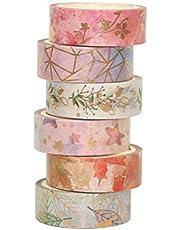 6 Rolls Washi Tape Set, Scrapbook Printing Decorative Masking Tape for Gift Craft Wrapping Scrapbook DIY