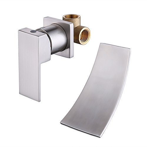 KES Wall Mount Bathroom Faucet Waterfall Lavatory Sink Faucet Single Handle Lead-Free BRASS Body and Stainless Steel Extra Wide Fallingwater Spout Brushed Nickel, LN3200-BN